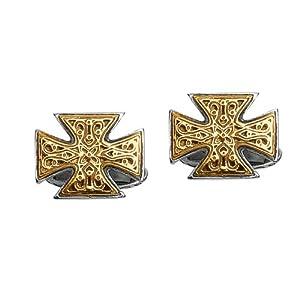 Designer Phillip Gavriel 18k Gold & Sterling Silver Collection Byzantine Filigree Cross Cuff Links