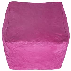 "Faux Suede Light Soft Pink Foot Stool Rest Pouffe 13"" Cube Bean Bag with Filling"