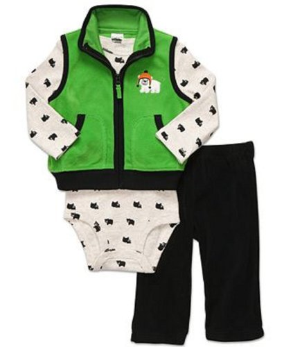 Carter'S Baby Boys 3Pc Fleece Vest And Bodysuit Set- 9 Months front-59542