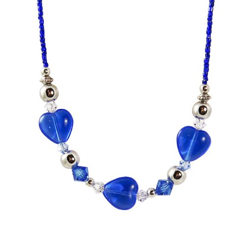 Beautiful Sapphire Heart Bead Swarovski Crystal Necklace