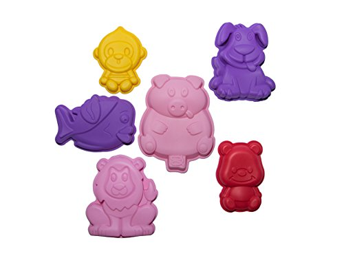 Animal Silicone Baking Molds-Set of 6 - Cake Pans for Kids- Animal, Zoo-Themed Birthday Baby shower - Molding for Jello/ Bread/ Chocolate/ Candy/ Soap/Plaster Making- Best DIY Kit for Boys and Girls (Zoo Single Pop Maker compare prices)