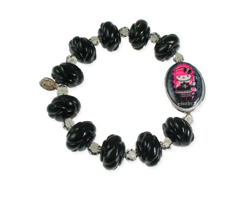 Tarina Tarantino Hello Kitty Pink Head Gothic Lolita Rose Bracelet – Black