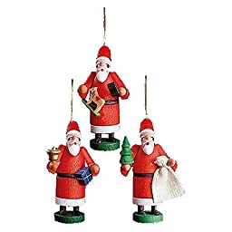 13340 - Richard Glaesser Ornaments - Assorted Santa - set 3 - 2.5\