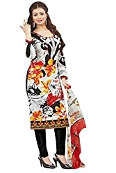 Shaily Retails Women's Bollywood White Cotton Printed Dress Material