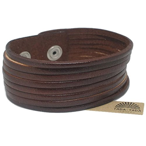 leather bracelet Vintage Twisted Style Brown Cuff Wristband Bangle Fashion by tada-tada (Resizable) (Pater Noster Cord compare prices)