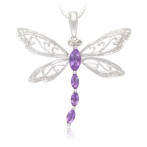 Sterling Silver Amethyst and Diamond Dragonfly Pendant Necklace (0.01 cttw, I-J Color, I2-I3 Clarity), 18