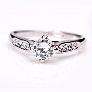 Fashion Plaza 18k White Gold Plated Use Swarovski Crystal Engagement Ring R21 Size 6