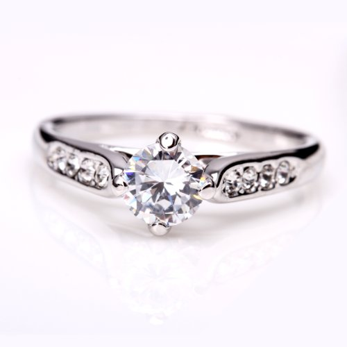 Fashion Plaza 18k White Gold Plated Use Swarovski Crystal Engagement Ring R21