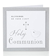 Silver First Holy Communion Card
