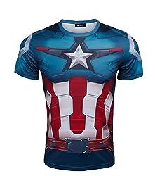 Madhero Men's Marvel Comic Hero Avengers COSPLAY Short Sleeve T-shirts (S, Blue Captain America)