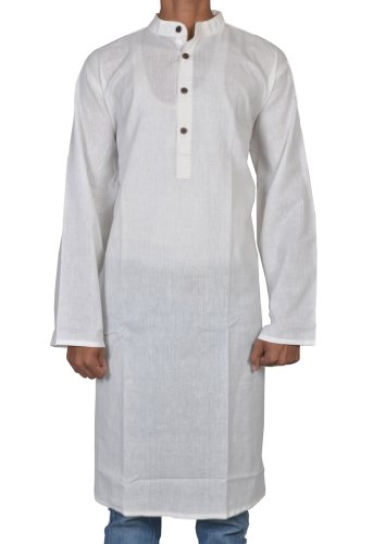 Handmade Casual Indian Khadi Mens Long Kurta Fabric For Winter & Summers Size 7XL