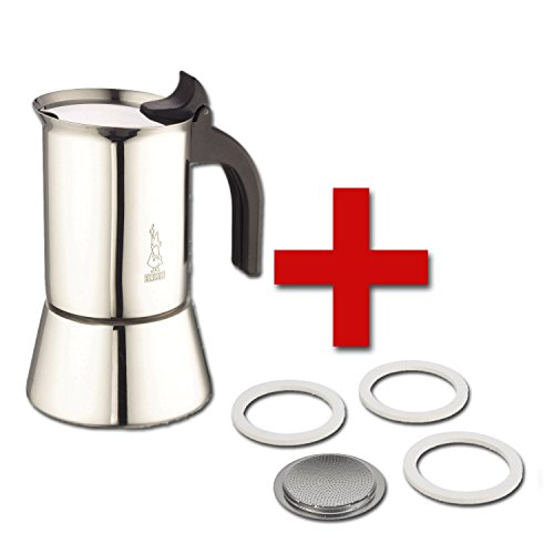 Bialetti Venus Stovetop Percolator 6-Cup Stainless Steel and Replacement filter & Gaskets