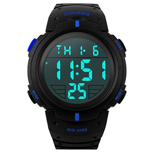 seaan 1068Unisex Bracciale Sport orologi male Digital Outdoor Uomo Orologi impermeabile, blu
