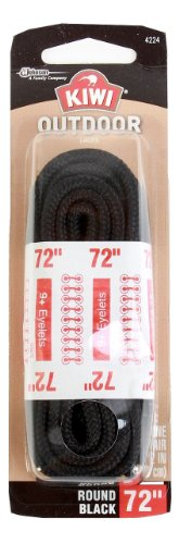 Kiwi Outdoor Boot Laces, 72-Inch, Round, Black, 3-Pack