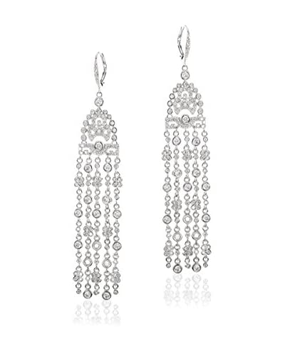 CZ by Kenneth Jay Lane Round CZ Fringed Deco Earrings