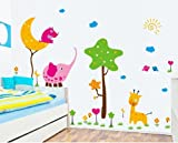 OneHouse Cartoon Animal Wall Decals For Babys Room Decor