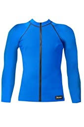 Aeroskin Nylon Long Sleeve Rash Guard with Front Zip, Solid Colors (Blue, X-Large)