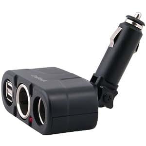 Daffodil CAP104 Répartiteur Doubleur de Prise Allume Cigare + 2 Ports USB 12V Chargeur à Deux Prises de Sortie et Connexion USB