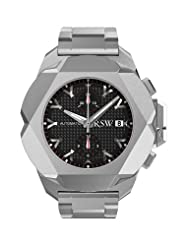 RSW Men's 4450.MS.S0.13.00 Nazca G Stainless-Steel Black Textured Automatic Chronograph Date Watch