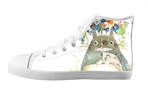 Adorable Totoro Cartoon Casual Shoes Indivisual Women's White Lace-up High Top Canvas Sneakers-9M(US)