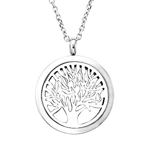 JOVIVI 30mm 316 Stainless Steel Silver Round Tree of Life Premium Aromatherapy Essential Oil Diffuser Magnetic Locket Pendant Necklace