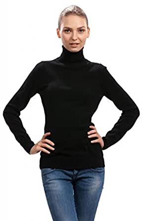 Black Turtleneck Sweater for Women in 100% Cashmere by ...