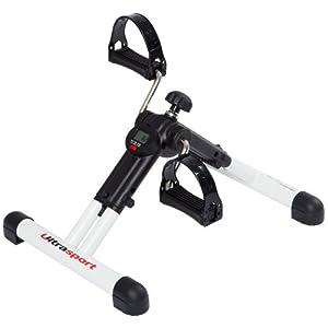 Ultrasport Mini-Vélo d'appartement pour bras et jambes pliable avec écran de contrôle MPE 25 Blanc