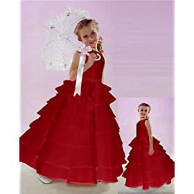 Brand New Flower Girl Red Wedding Layers Dress