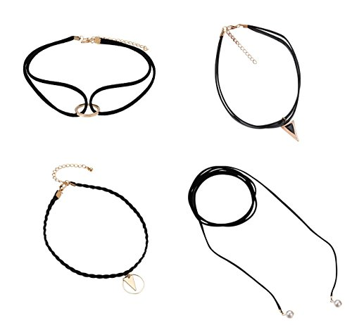Veenajo 4Pcs Choker Necklace Set Leather Velvet Classic Gothic Tattoo Choker Necklaces with Pendant for Women Girl's