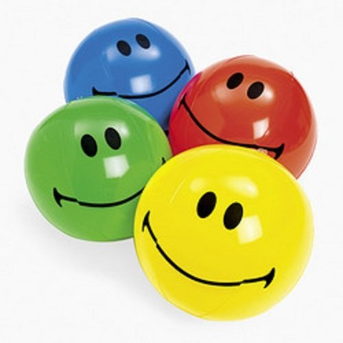 Inflatable Smiley Face Beach Balls (1 dz) Party Favors