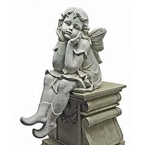 Design Toscano Sitting Pretty Large Scale Flower Fairy Statue, Antique Stone