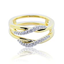 buy 10K Yellow Gold Ring Jacket 1/16Cttw Diamonds 8Mm Wide Solitaire Guard