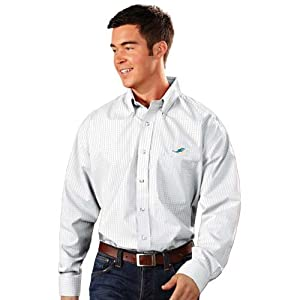 Miami Dolphins Esteem Button Down Dress Shirt (White) by Antigua