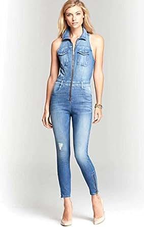 Amazon.com: Guess Women's Cara Sleeveless Denim Jumpsuit 10 Wayfare