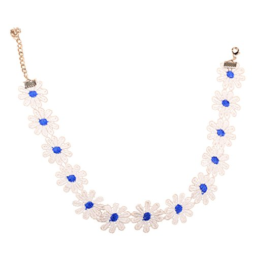 Yazilind Handmade White Blue Flower Lace Lolita Choker Necklace Gift For Women
