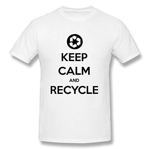 Tasy 100% Cotton Men'S Keep Calm Recycle T-Shirt - Xs White