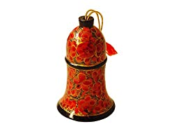 Hand Painted Paper Mache Christmas Bell Ornament- Orange Floral