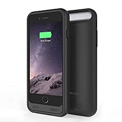 [MFI Certified] MoKo iPhone 6s Plus Case - 4000mAh Protective Extended Battery Charging Case with Removable / Rechargeable Power Cover for Apple iPhone 6 Plus / 6s Plus (2014 / 2015) 5.5 Inch, BLACK
