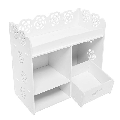 MyGift Cut-Out Design Makeup Organizer, Cosmetic Storage Shelf with Drawer, White (Wooden Countertop Drawers compare prices)