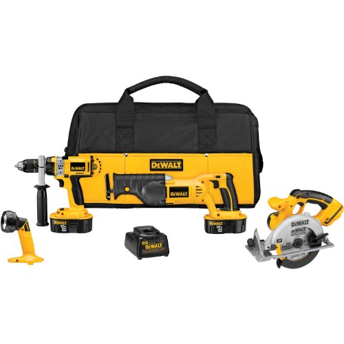 Big Save! DEWALT DCK440X 18-Volt XRP 4-Tool Combo Kit, with Hammerdrill, Reciprocating and Circular ...