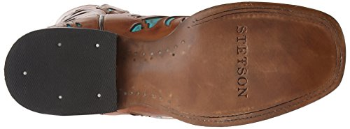 Stetson Women's 13 Inch Burnished Saddle Underlay Riding Boot, Brown, 8 B US