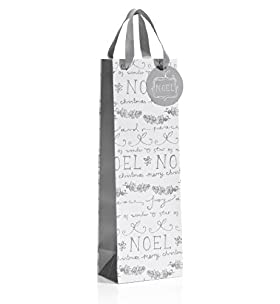 Silver & White Noel Christmas Bottle Bag