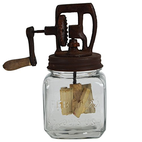 Rustic Antique Style Dazey Glass Hand Crank 1 Quart Butter Churn Primitive Decor (Butter Churn Jar compare prices)