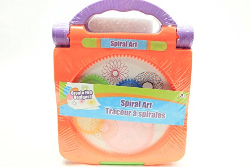 Spirograph Spiral Art Kids Travel Kit Draw & Create Fun Designs Portable Carry Case with Handle – Colors Chosen at Random