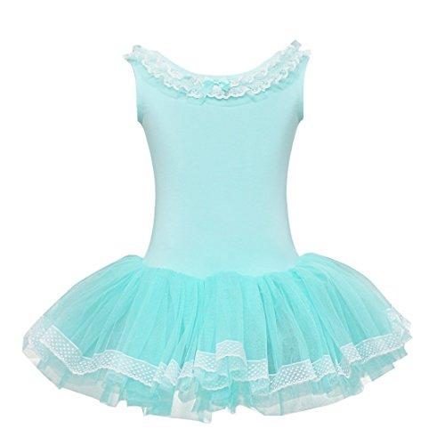 YiZYiF Girl's Child Party Ballet Costume Tutu Leotards Dance Skate Dress Outfit Blue 4-5 Large