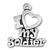SCJ Sterling Silver Charm Pendant I Love My Soldier Words Heart
