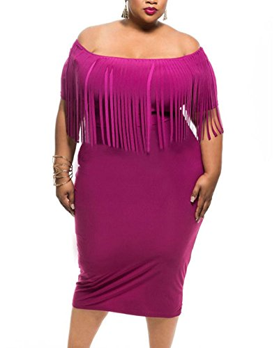 Lalagen43;Hot43; Women's Off Shoulder Tassel Plus Size Bodycon Dress, SizeX-Large Plus, Rose