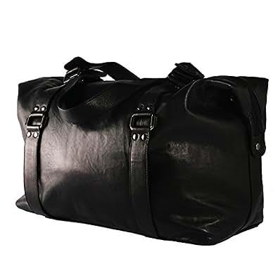 BACCINI sac de voyage GRETA - grand - besace weekend - fourretout noir en cuir véritable (50 x 32 x 15 cm)