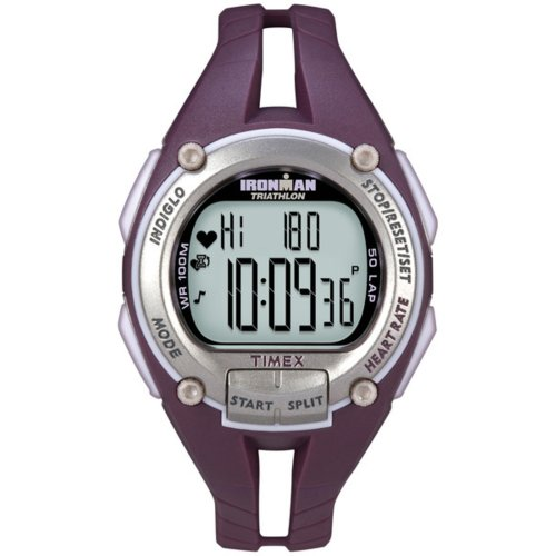 Cheap Timex Ironman Road Trainer Heart Rate Monitor Watch, Plum/Silver, Mid Size (T5K213F5)