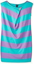 Gant Women's Cotton A-line Dress (GATO0202_Green and Violet_Large)